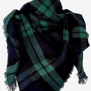 Accessories - Plaid Green Navy Blanket Scarf